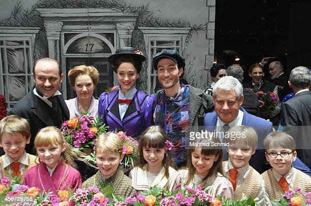 Reinwald Kranner Milica Jovanovica Annemieke Van Dam David Boyd and Sir Cameron Mackintosh pose for a photograph during the Mary Poppins musical...
