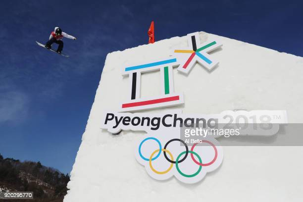 Reira Iwabuchi of Japan competes during the Snowboard Ladies' Big Air Qualification on day 10 of the PyeongChang 2018 Winter Olympic Games at...