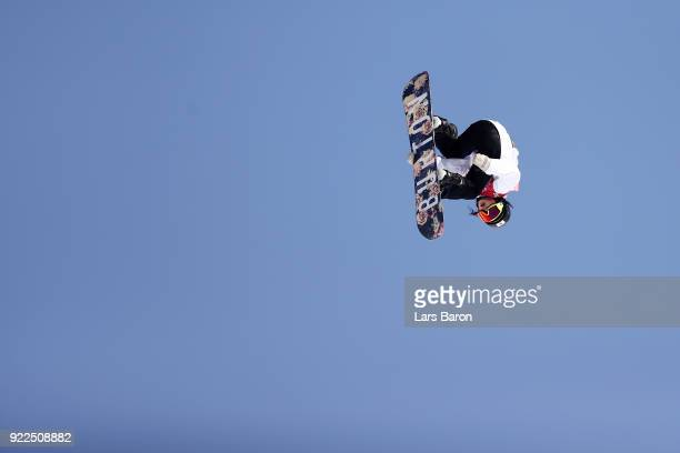 Reira Iwabuchi of Japan competes during the Snowboard Ladies' Big Air Final Run 3 on day 13 of the PyeongChang 2018 Winter Olympic Games at Phoenix...