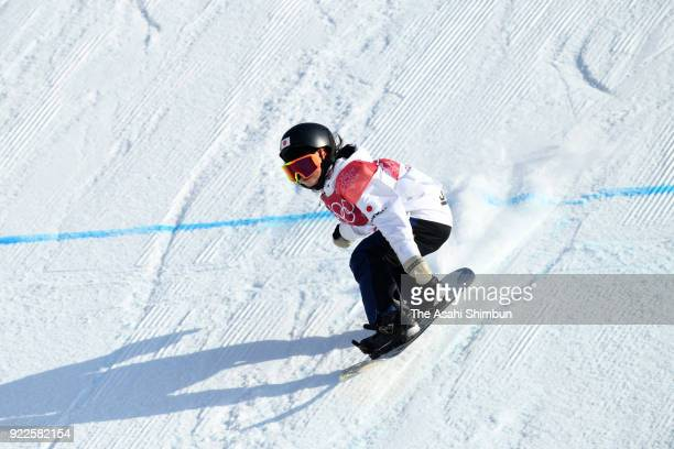 Reira Iwabuchi of Japan competes in the first jump during the Snowboard Ladies' Big Air Final on day thirteen of the PyeongChang 2018 Winter Olympic...