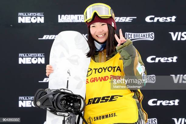 Reira Iwabuchi of Japan poses for photographers wearing her FIS points leader's bib after Snowboard Slopestyle final during the Toyota US Grand Prix...