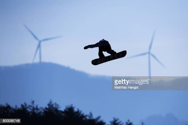 Reira Iwabuchi of Japan practices prior to the Snowboard Ladies' Big Air Qualification on day 10 of the PyeongChang 2018 Winter Olympic Games at...