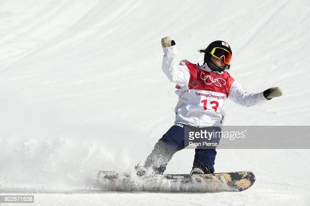 Reira Iwabuchi of Japan reacts after her run during the Snowboard Ladies' Big Air Final on day 13 of the PyeongChang 2018 Winter Olympic Games at...