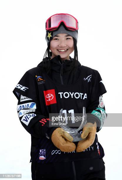 Reira Iwabuchi of Japan stands on the podium after coming in fifth place in the Ladies' Snowboard Slopestyle Finals of the FIS Snowboard World...