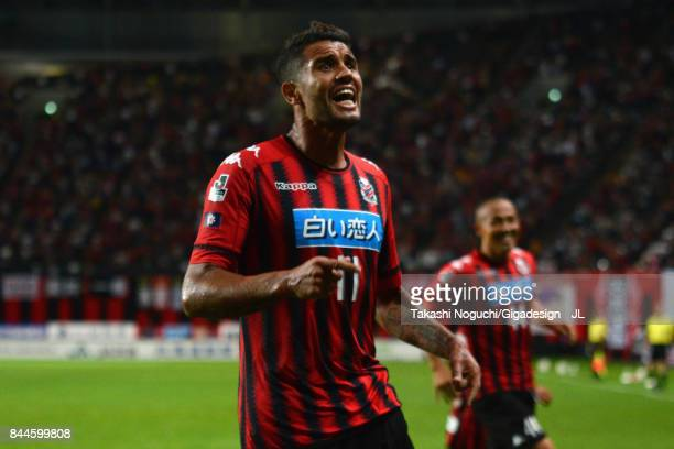 Reis of Consadole Sapporo celebrates scoring his side's second goal during the JLeague J1 match between Consadole Sapporo and Jubilo Iwata at Sapporo...