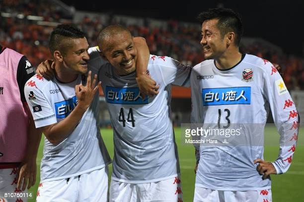 Reis Shinji Ono and Yoshihiro Uchimura of Consadole Sapporo react after their 22 draw in the JLeague J1 match between Omiya Ardija and Consadole...