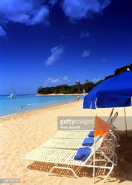"""Reise, Barbados/Karibik, Strand des;Luxus-Hotels """"Sandy Lane"""", Strand, Meer,;Sonnenschirm,"""