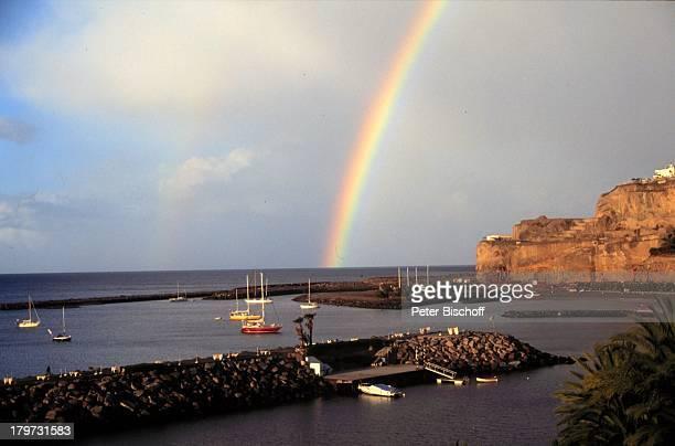 """Reise, Insel Gran Canaria, Spanien, Europa, Kanaren, Kanarische Inseln, Blick vom Hotel """"Dunas La Canaria"""" , Meer, Regenbogen,"""
