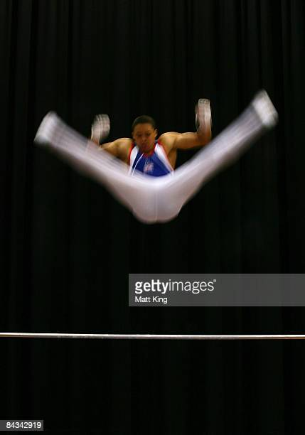 Reiss Beckford of Great Britain competes in the Men's Horizontal Bar Final during day five of the Australian Youth Olympic Festival at Sydney Olympic...