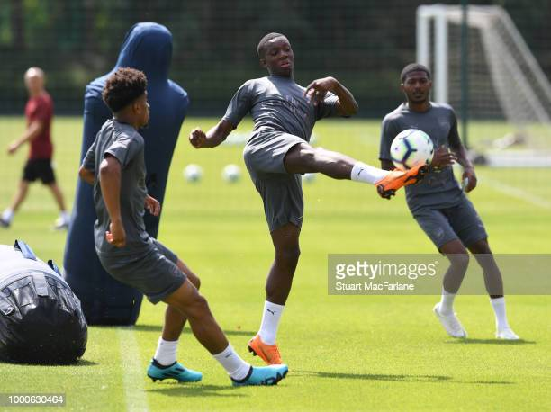 Reiss Nelson and Eddie Nketiah of Arsenal during a training session at London Colney on July 17 2018 in St Albans England