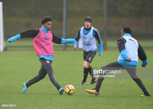 Reiss Nelson and Joe Willock of Arsenal during a training session at London Colney on January 2 2018 in St Albans England
