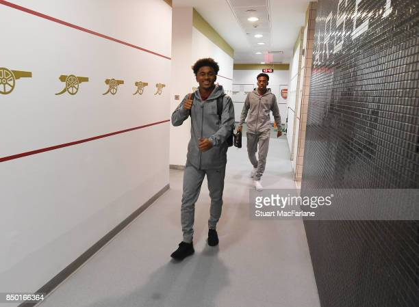 Reiss Nelson arrives in the Arsenal changing room before the Carabao Cup Third Round match between Arsenal and Doncaster Rovers at Emirates Stadium...