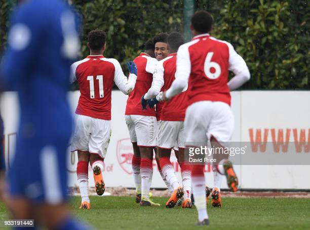 Reiss Nelson celebrates scoring Arsenal's 3rd goal during the match between Arsenal U23 and Chelsea U23 at London Colney on March 17 2018 in St...