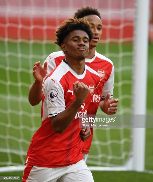 Reiss Nelson celebrates scoring the 1st Arsenal goal during the Premier League 2 match between Arsenal and Manchester United at Emirates Stadium on...