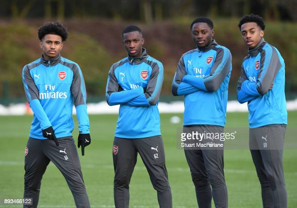 Reiss Nelson Eddie Nketiah Josh Dasilva and Joe Willock of Arsenal during a training session at London Colney on December 15 2017 in St Albans England