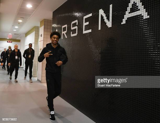 Reiss Nelson in the Arsenal changing room before UEFA Europa League Round of 32 match between Arsenal and Ostersunds FK at the Emirates Stadium on...