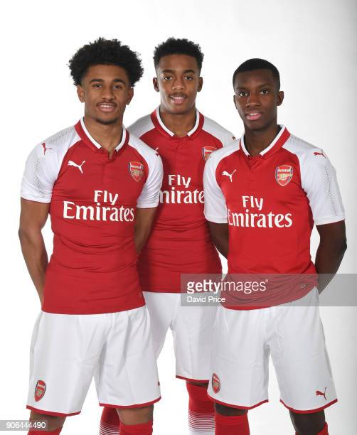 Reiss Nelson Joe Willock and Eddie Nketiah of Arsenal during an Arsenal Magazine Photoshoot at London Colney on January 8 2018 in St Albans England