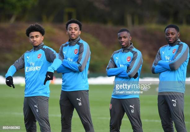 Reiss Nelson Joe Willock Eddie Nketiah and Josh Dasilva of Arsenal during a training session at London Colney on December 15 2017 in St Albans England