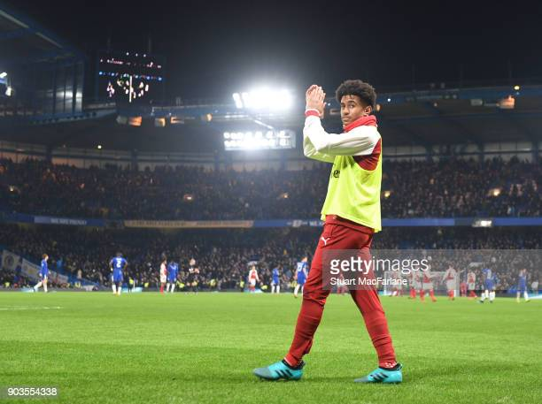 Reiss Nelson of Arsenal after the Carabao Cup SemiFinal First Leg match between Chelsea and Arsenal at Stamford Bridge on January 10 2018 in London...