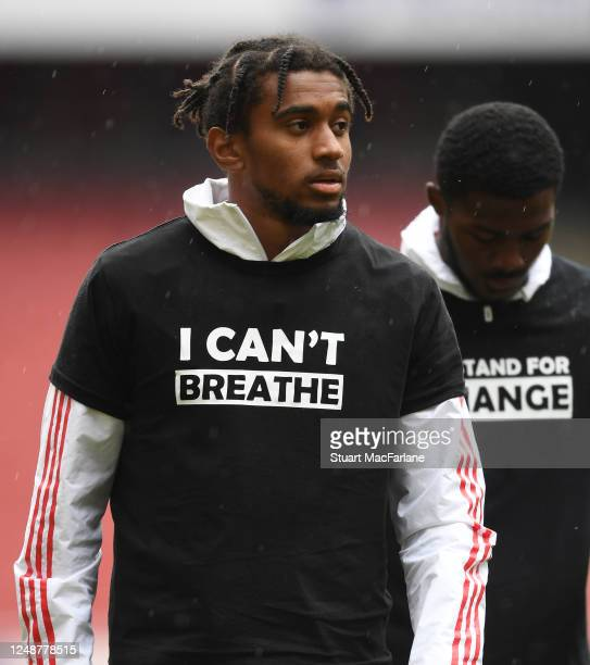 Reiss Nelson of Arsenal before a friendly match between Arsenal and Brentford at Emirates Stadium on June 10 2020 in London England