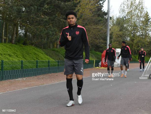 Reiss Nelson of Arsenal before a training session at London Colney on April 25 2018 in St Albans England