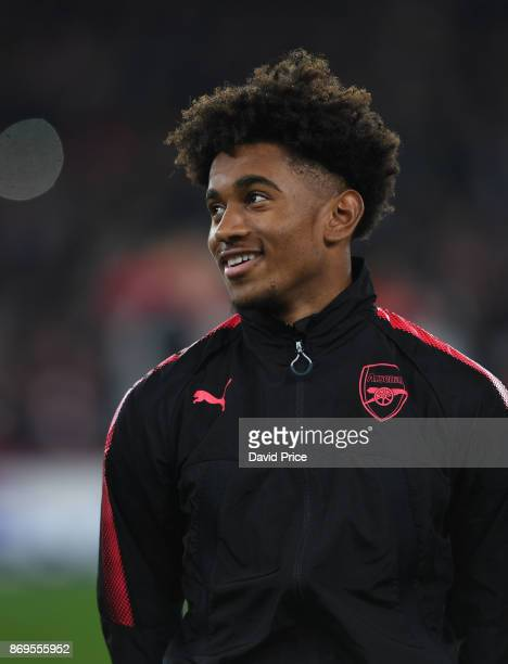 Reiss Nelson of Arsenal before the UEFA Europa League group H match between Arsenal FC and Crvena Zvezda at Emirates Stadium on November 2 2017 in...