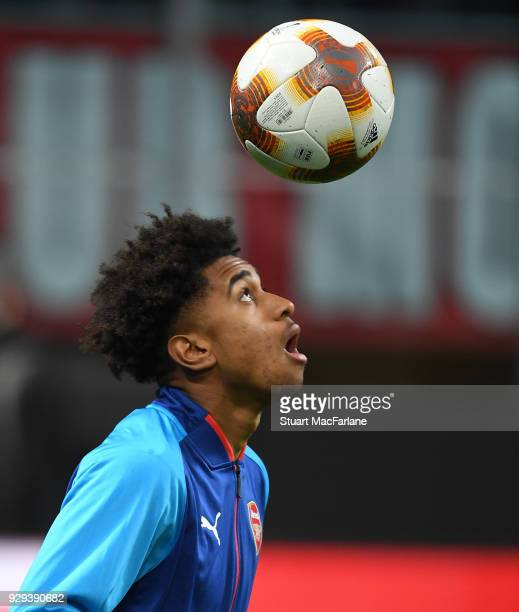 Reiss Nelson of Arsenal before UEFA Europa League Round of 16 match between AC Milan and Arsenal at the San Siro on March 8 2018 in Milan Italy
