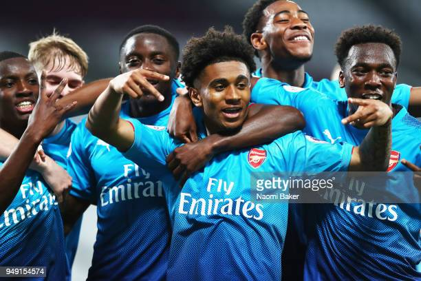 Reiss Nelson of Arsenal celebrates after Eddie Nketiah of Arsenal scores his sides third goal during the Premier League 2 match between West Ham...