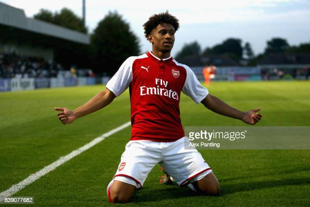 Reiss Nelson of Arsenal celebrates after scoring his sides first goal during the Premier League 2 match between Arsenal and Liverpool at Meadow Park...
