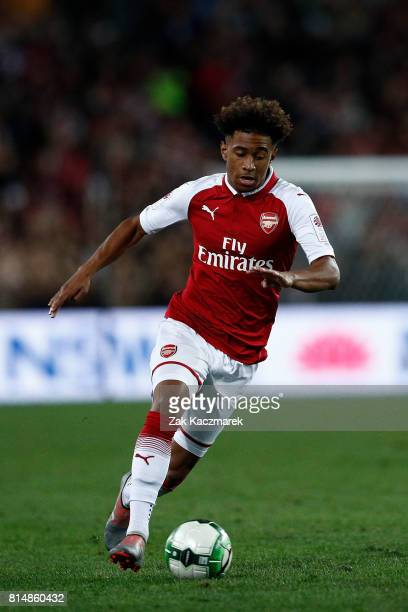 Reiss Nelson of Arsenal controls the ball during the match between the Western Sydney Wanderers and Arsenal FC at ANZ Stadium on July 15 2017 in...