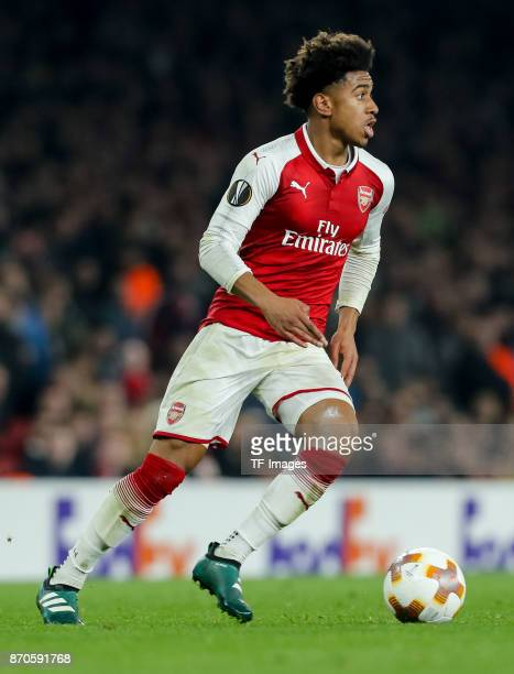 Reiss Nelson of Arsenal controls the ball during UEFA Europa League Group H match between Arsenal and Red Star Belgrade at The Emirates London 2 Nov...