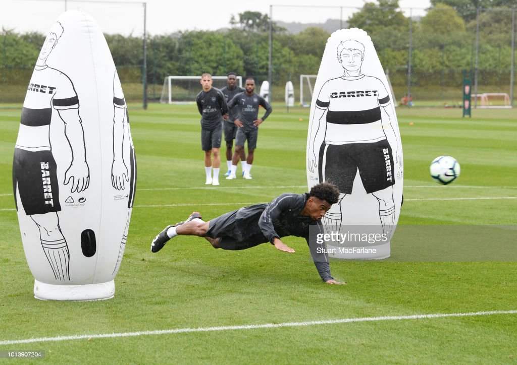 Reiss Nelson of Arsenal during a training session at London Colney on August 10, 2018 in St Albans, England.