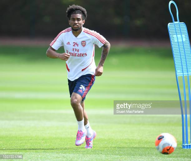 Reiss Nelson of Arsenal during a training session at London Colney on May 26 2020 in St Albans England
