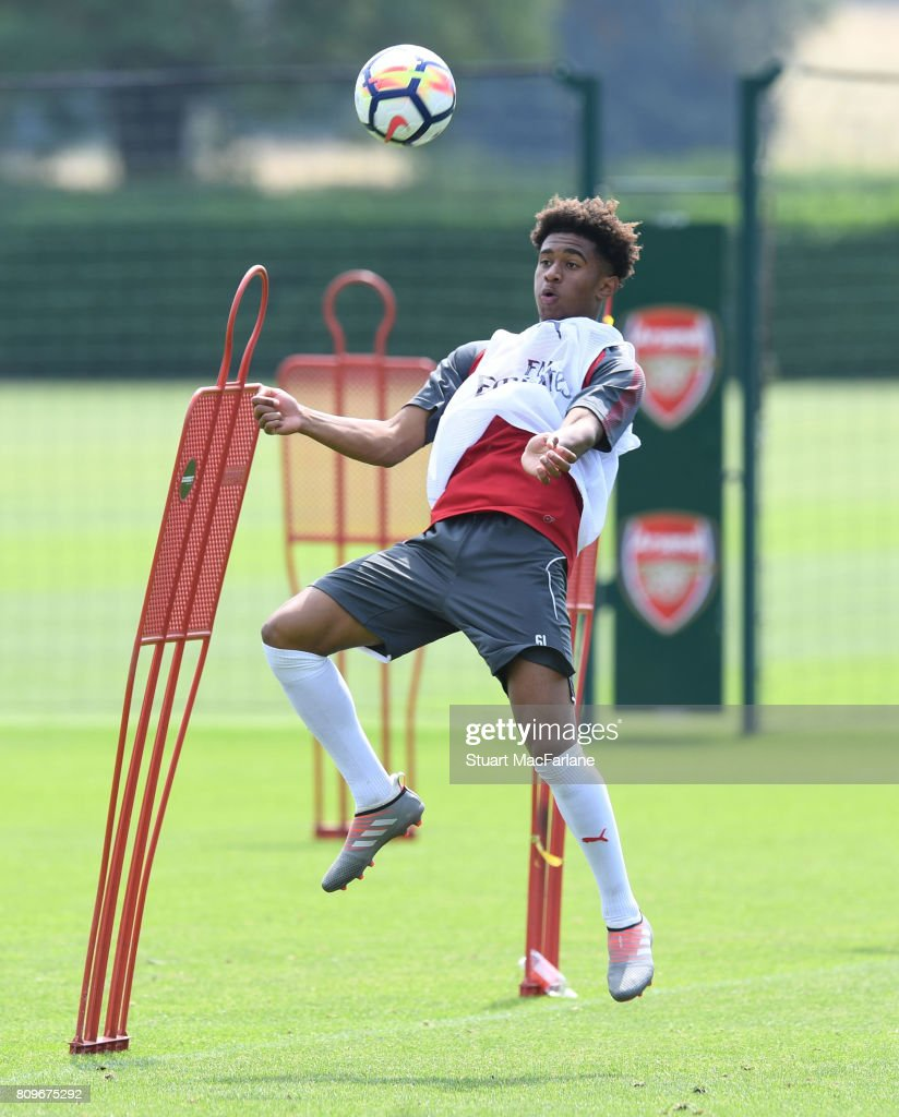 Reiss Nelson of Arsenal during a training session at London Colney on July 6, 2017 in St Albans, England.