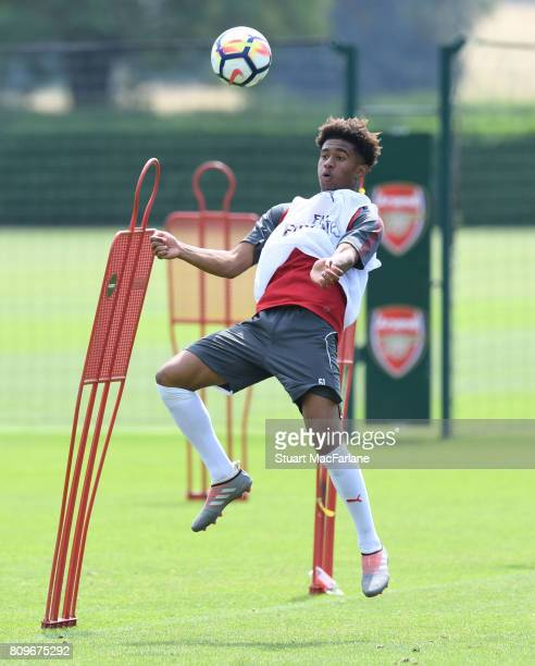 Reiss Nelson of Arsenal during a training session at London Colney on July 6 2017 in St Albans England
