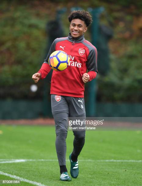 Reiss Nelson of Arsenal during a training session at London Colney on November 4 2017 in St Albans England
