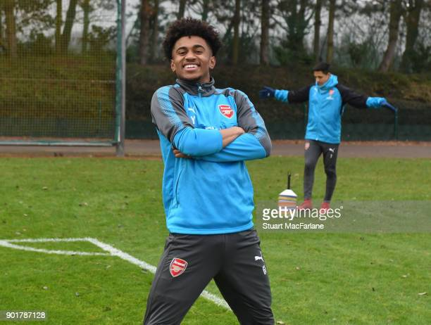 Reiss Nelson of Arsenal during a training session at London Colney on January 6 2018 in St Albans England