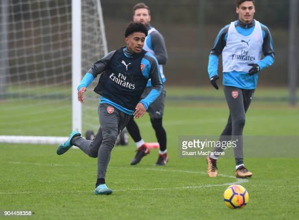 Reiss Nelson of Arsenal during a training session at London Colney on January 13 2018 in St Albans England