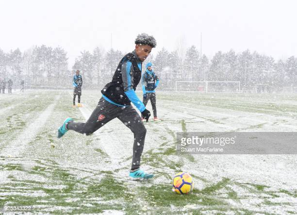 Reiss Nelson of Arsenal during a training session at London Colney on February 28, 2018 in St Albans, England.