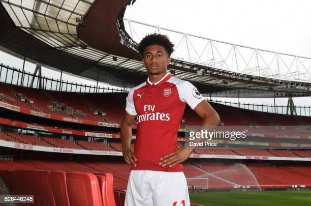 Reiss Nelson of Arsenal during the Arsenal 1st team photocall at Emirates Stadium on August 3 2017 in London England