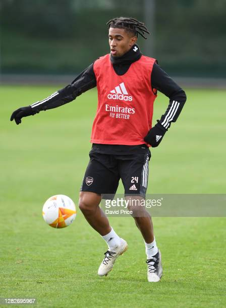 Reiss Nelson of Arsenal during the Arsenal training session ahead of the UEFA Europa League Group B stage match between Arsenal FC and Dundalk FC at...
