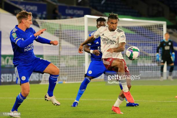 Reiss Nelson of Arsenal during the Carabao Cup match between Leicester City and Arsenal at the King Power Stadium Leicester England on 23rd September...
