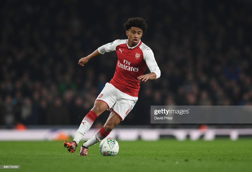 Reiss Nelson of Arsenal during the Carabao Cup Quarter Final match between Arsenal and West Ham United at Emirates Stadium on December 19, 2017 in London, England.