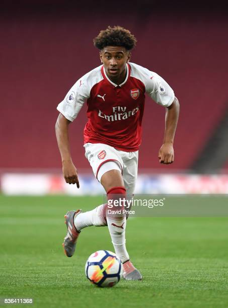 Reiss Nelson of Arsenal during the match between Arsenal U23 and Manchester City U23 at Emirates Stadium on August 21 2017 in London England