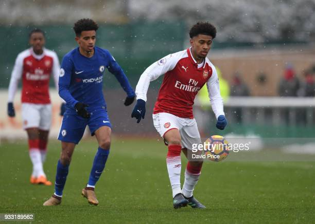 Reiss Nelson of Arsenal during the match between Arsenal U23 and Chelsea U23 at London Colney on March 17 2018 in St Albans England
