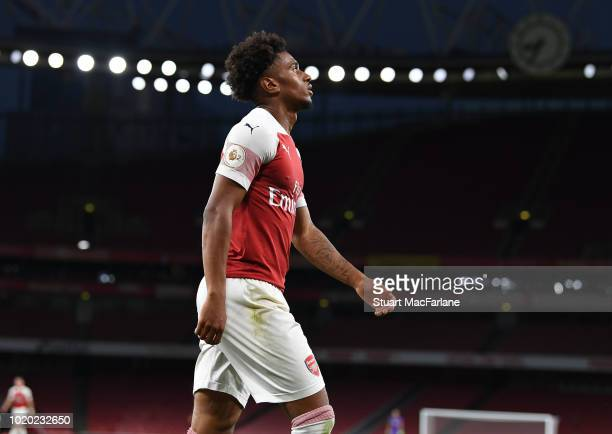 Reiss Nelson of Arsenal during the Premier League 2 match between Arsenal U23 and Brighton Hove Albion U23 at Emirates Stadium on August 20 2018 in...