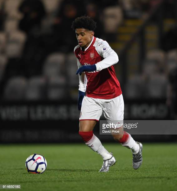 Reiss Nelson of Arsenal during the Premier League 2 match between Arsenal and Everton at Meadow Park on February 5 2018 in Borehamwood England