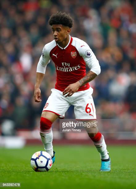 Reiss Nelson of Arsenal during the Premier League match between Arsenal and Southampton at Emirates Stadium on April 8 2018 in London England