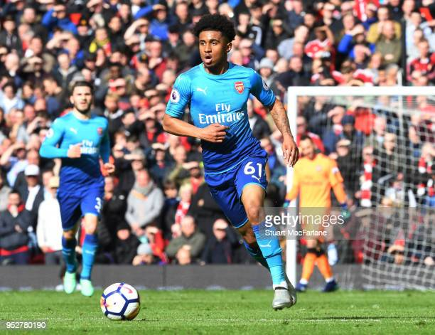Reiss Nelson of Arsenal during the Premier League match between Manchester United and Arsenal at Old Trafford on April 29 2018 in Manchester England