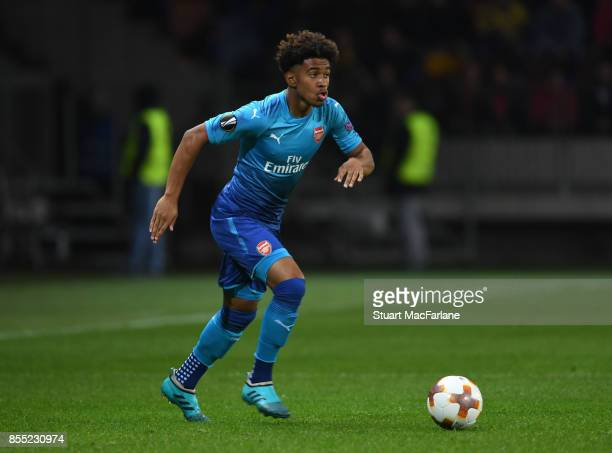 Reiss Nelson of Arsenal during the UEFA Europa League group H match between BATE Borisov and Arsenal FC at BorisovArena on September 28 2017 in...